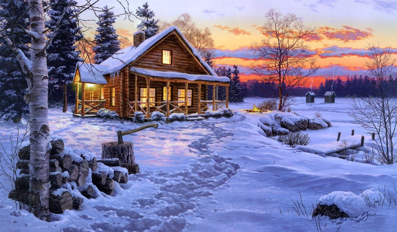 Log cabin in the woods winter - Log Cabin And Beautiful Bushes Log Cabin Painting