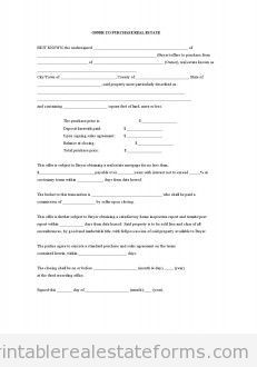 Free Offer To Purchase Real Estate Printable Real Estate Forms