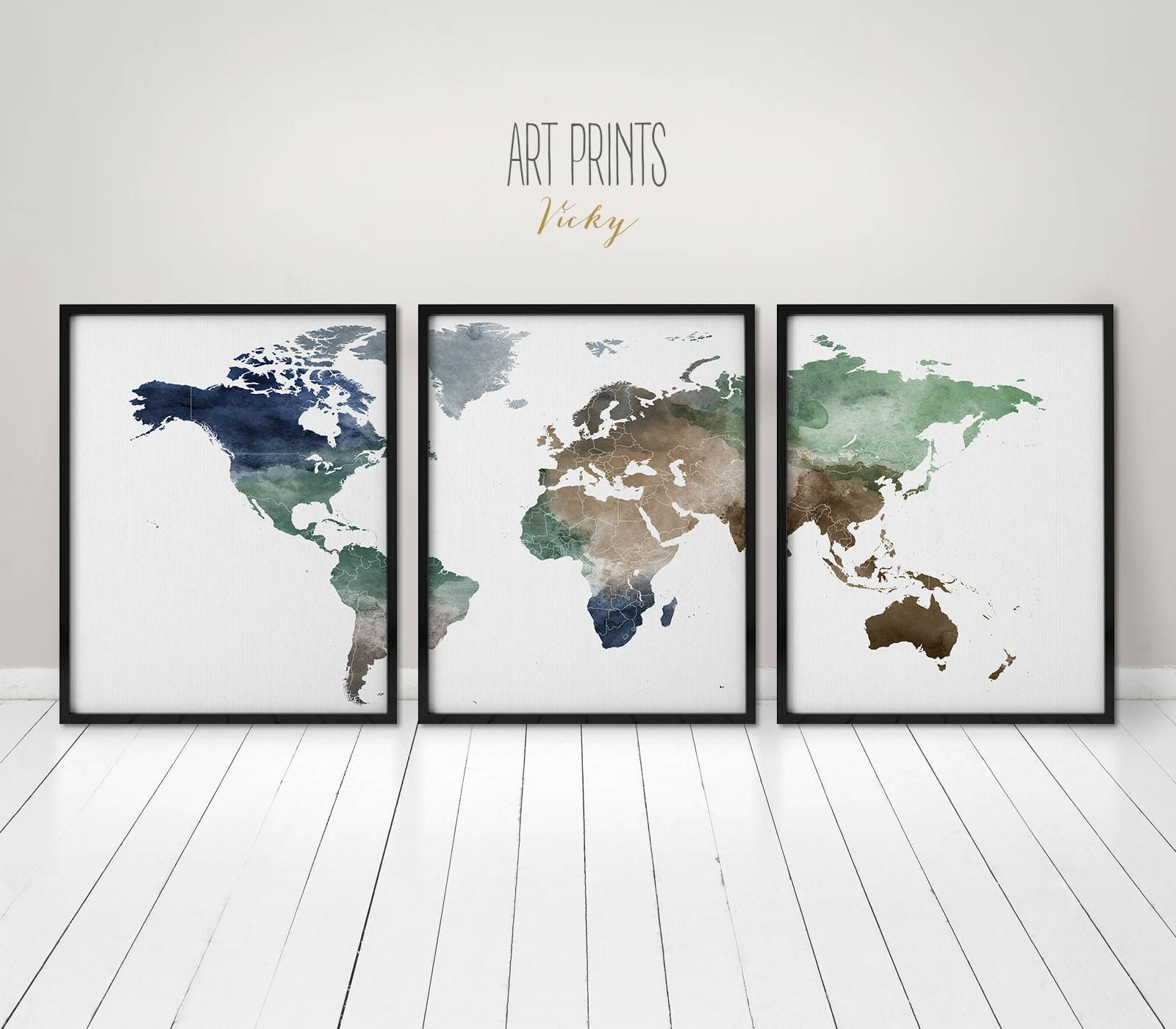 World Map Wall Art Print Poster 3 Pieces World Map Print Wall Art Art Print Office Wall Art Travel Gift W World Map Wall Art Map Wall Art World Map Art