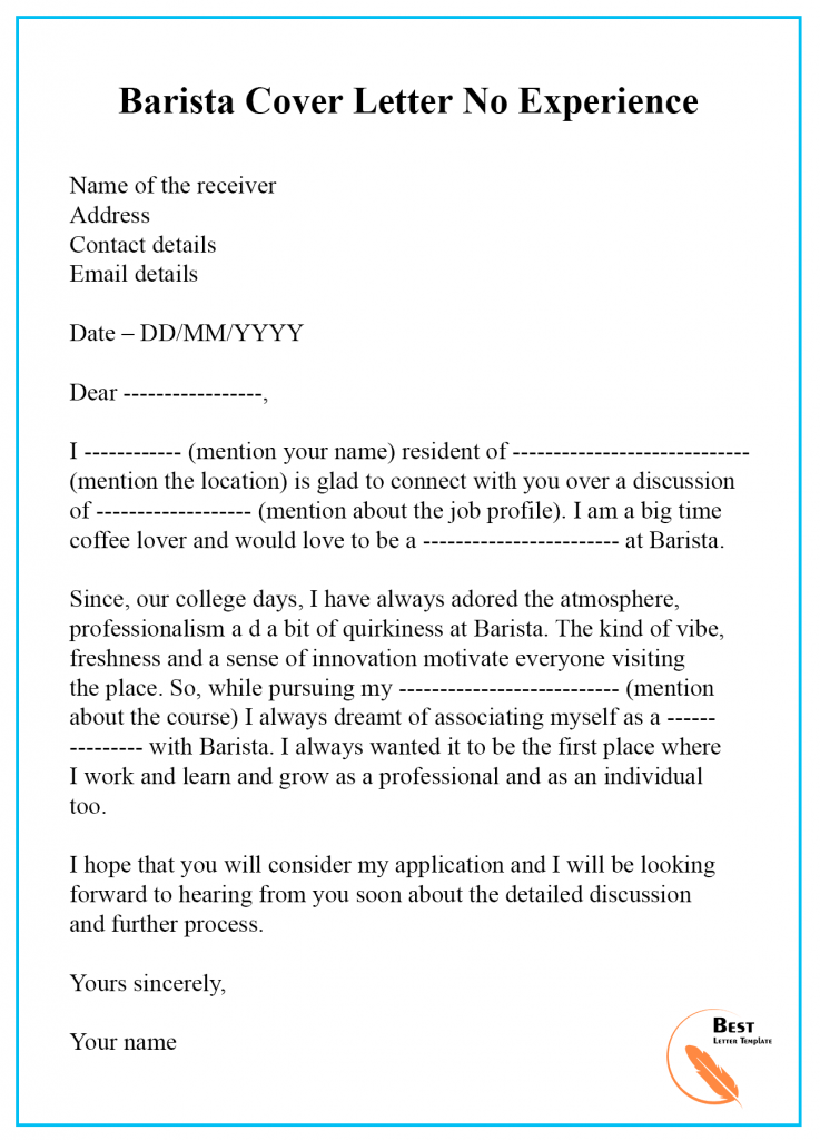 Barista Cover Letter Template Format, Sample & Examples