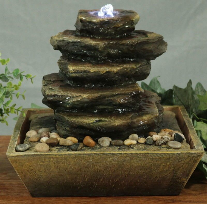 Unique Cascading Rocks Electric Tabletop Fountain With Led Lights Fountain Indoor Tabletop Fountains Tabletop Fountain Indoor Tabletop Water Fountain
