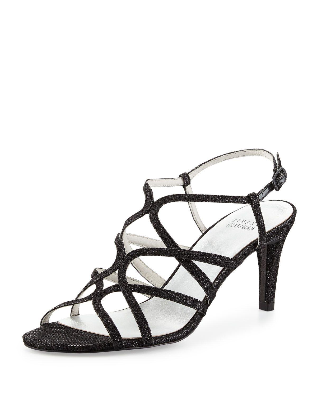 Turningup Strappy Glitter Sandal, Black, Women's, Size: 5 1/2 B - Stuart Weitzman
