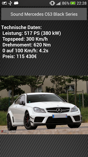 100% free<br>Original Motorsounds of popular sportcars.<br>Not only motor sounds.<br>Also specifications and pictures<br>Questions or ideas?<br>Please send an e-Mail to me.<br>100% free<p>***NEW***<p>You can save your favorite sounds at your phone<p>***NEW***<p>--------------------------------------------------------------------------------------------------------------------<p>Keywords:<br>car, carsounds, v8, motorsounds, auto, autotöne ,autosounds, motorengeräusche, sportcar, unterhaltung,