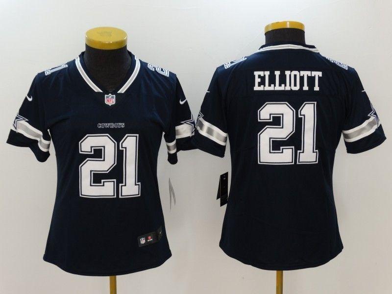 Nike Cowboys 21 Ezekiel Elliott Navy Vapor Untouchable Women Limited Jersey