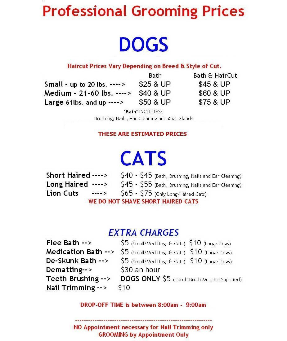 dog grooming price list Yahoo Image Search Results