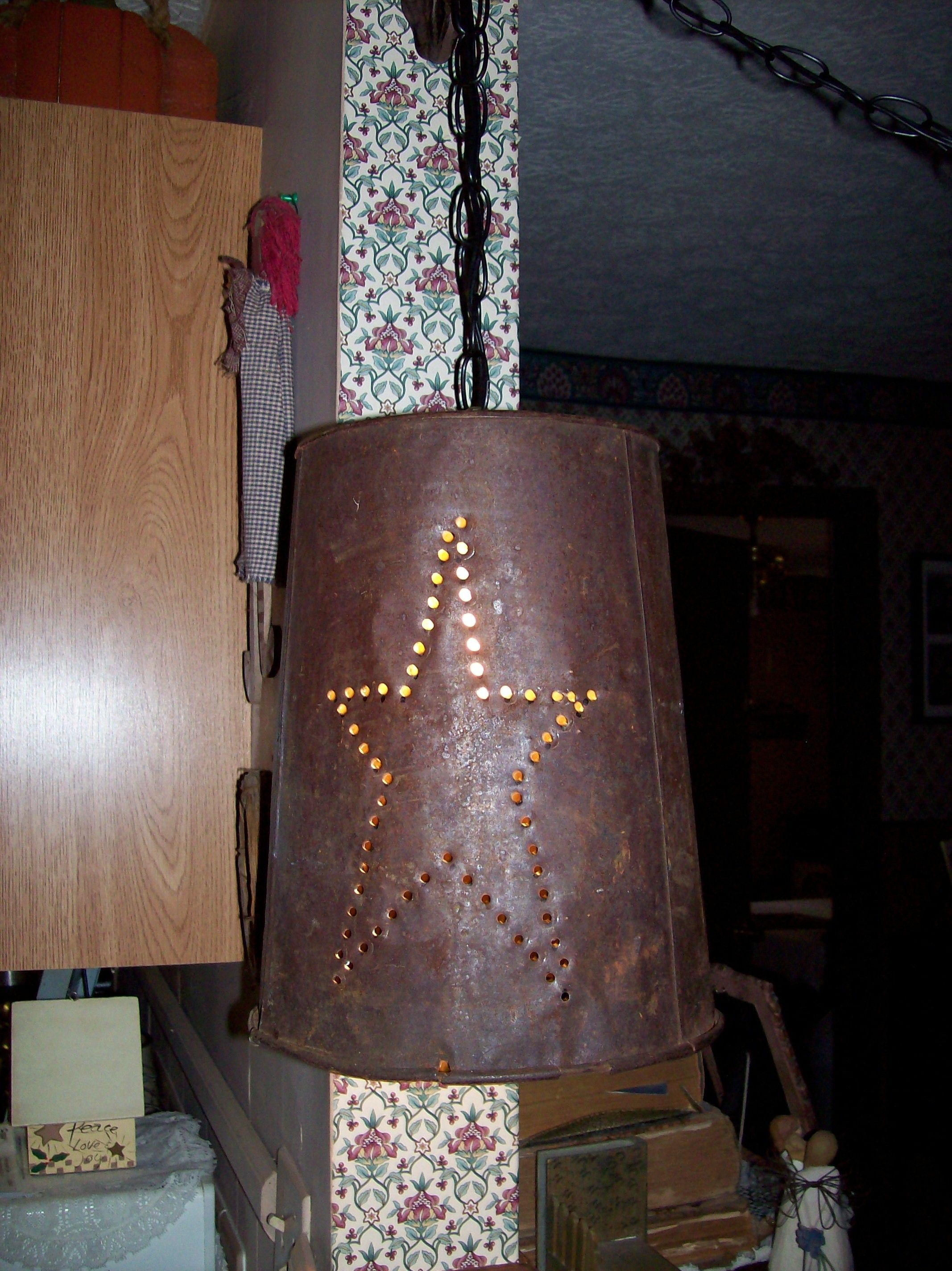 Swag Lamp Made From An Old Sap Bucket. Bought The Swag Kit From Lowes And