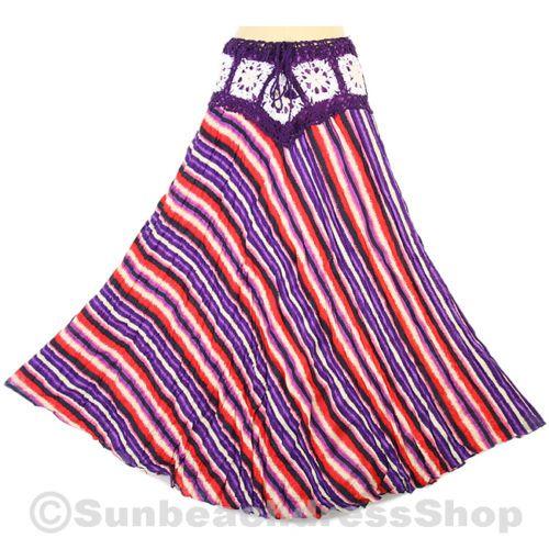 Colorful Crochet Cotton Skirt Boho Hippie Gypsy Beach XS s M L XL SK136 Bid | eBay