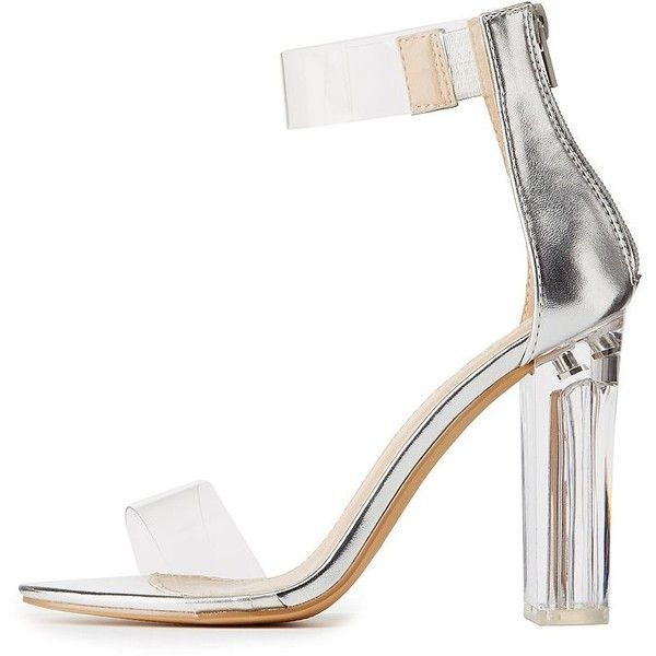 93272e1302e Charlotte Russe Clear Two-Piece Lucite Heel Sandals ( 25) ❤ liked on Polyvore  featuring shoes
