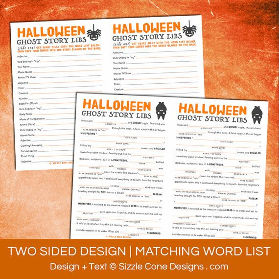 Halloween Mad Lib Printable Ghost Story Game For Kids & Adults ...
