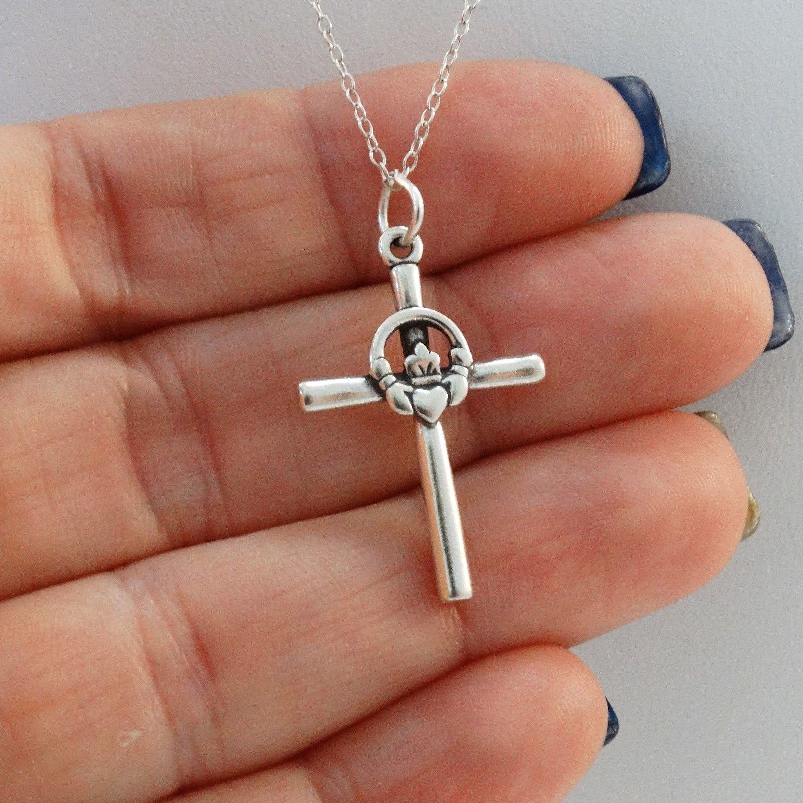 925 Sterling Silver Friendship Infinity Irish Faith NEW Celtic Cross Pendant