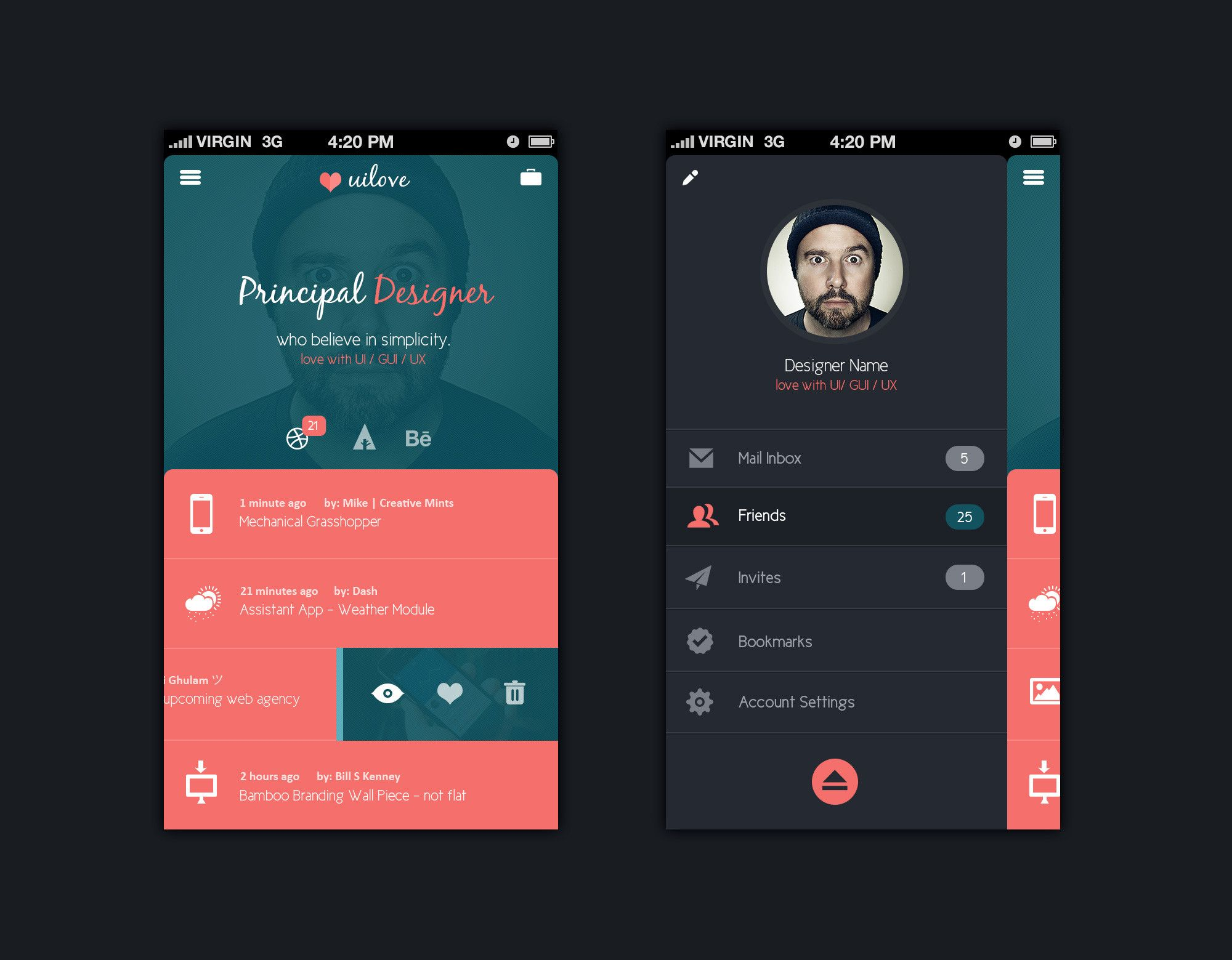 Mobile App Design Template Psd Templates Gfxnerds Mobile App Design Templates Mobile App Design Mobile App Inspiration
