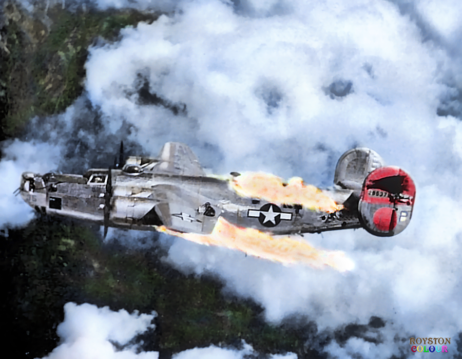 """August 1944.""""She was hit by a FW190 in the attack ….the"""