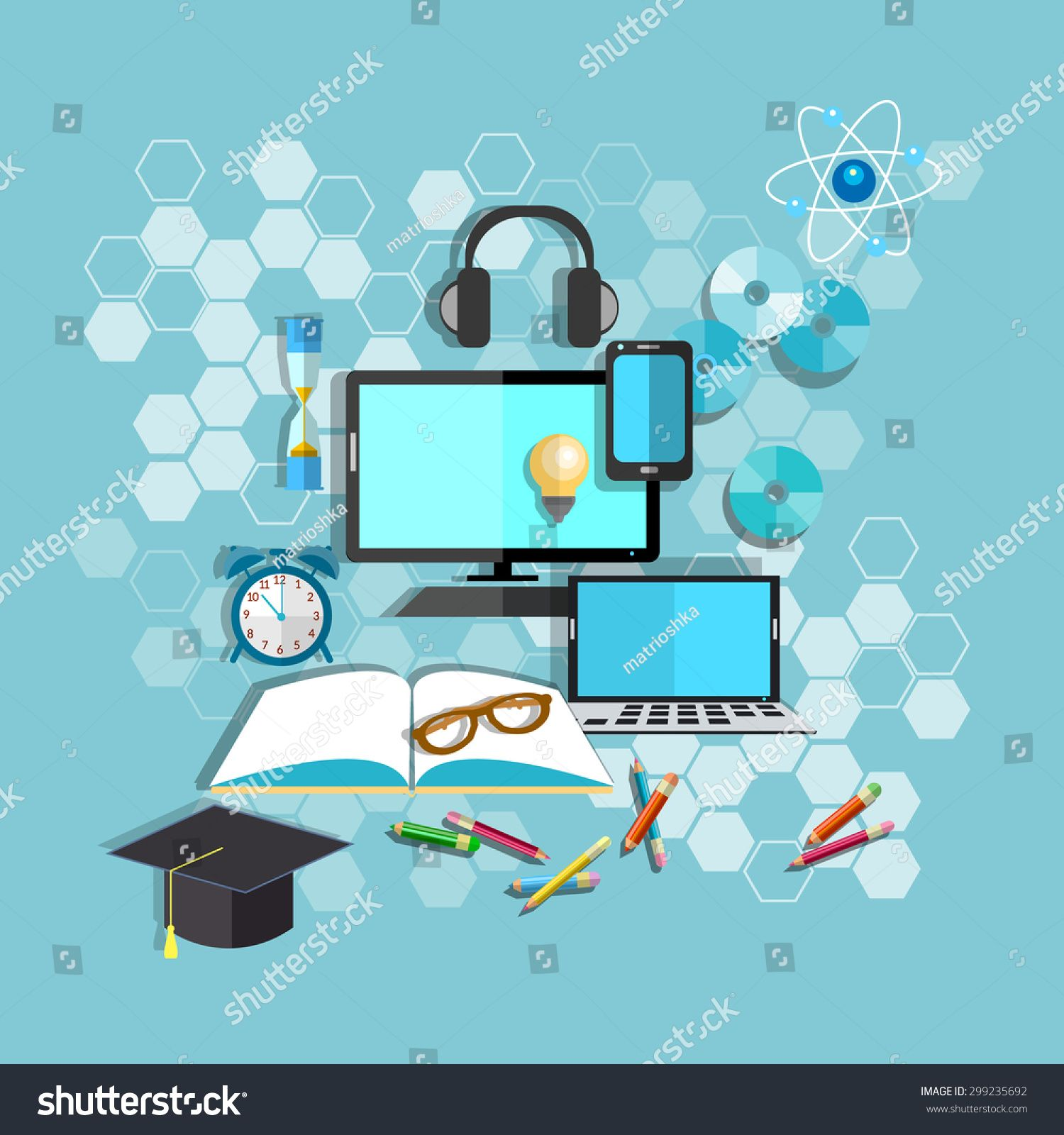 Education Online Learning Student Desk School College University Computer Notebook Pencils Books Headphones Vector Illu Online Learning Student Desks Education