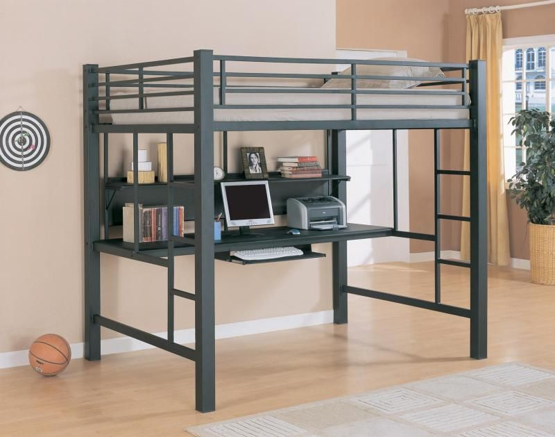Queen Size Loft Bed Ikea With Hardwood Floors