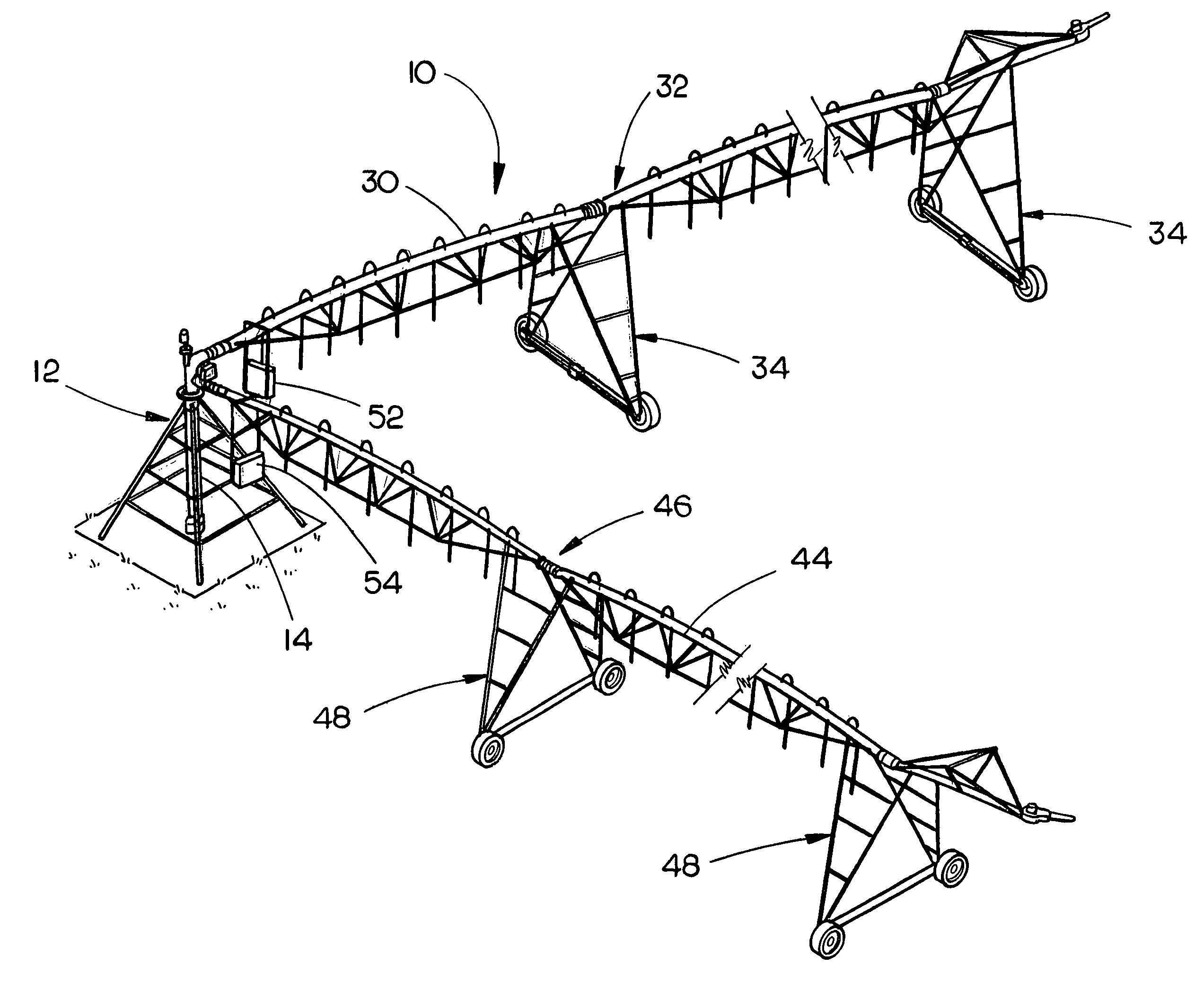 patent us8317114 dual span center pivot irrigation system center pivot irrigation wiring diagrams [ 2545 x 2094 Pixel ]