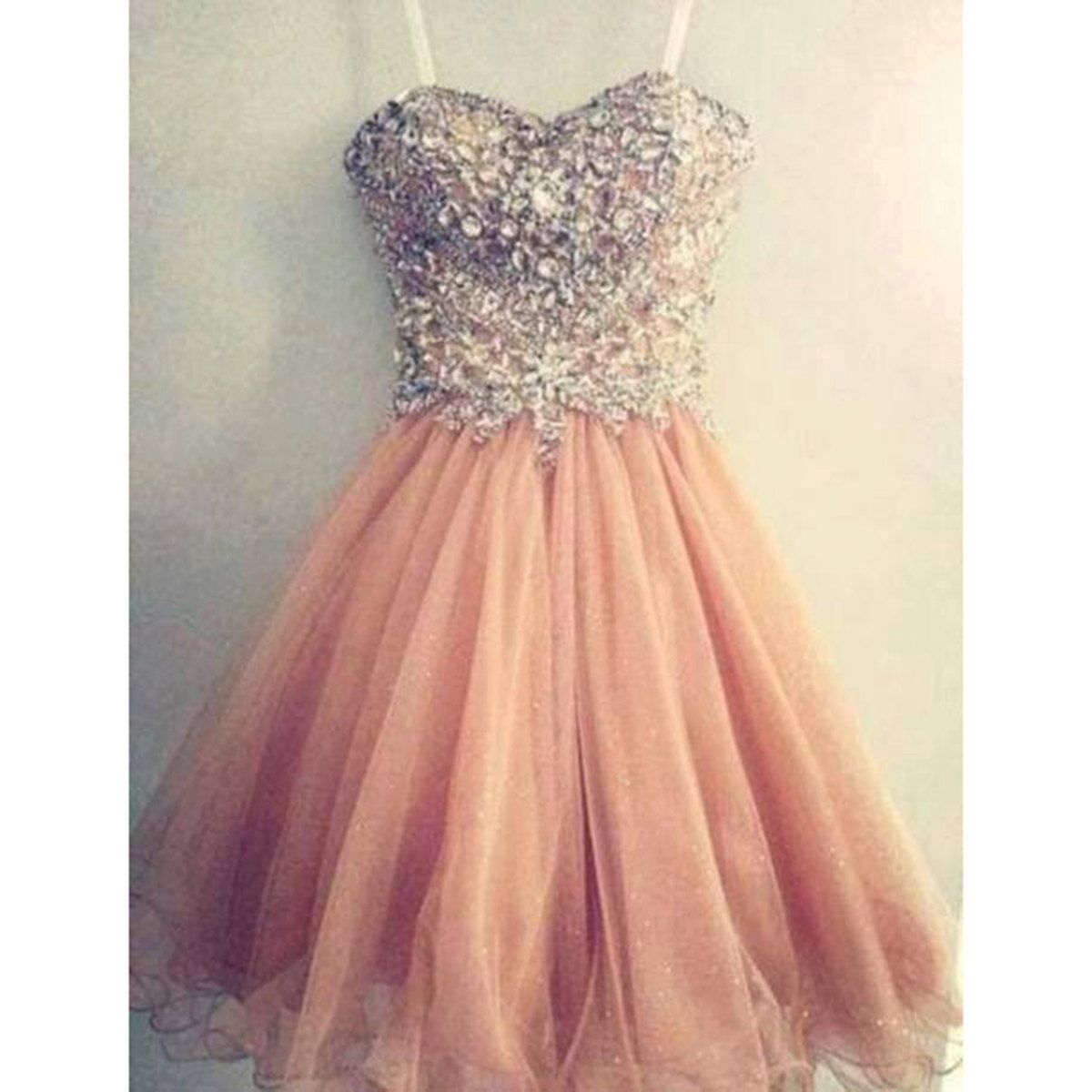 Amazing pink tulle handmade short gown prom dress by girlsproms