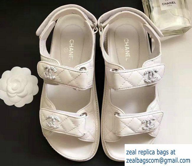 7ec472a65 Chanel Sheepskin CC Logo Sandals G31848 White 2017