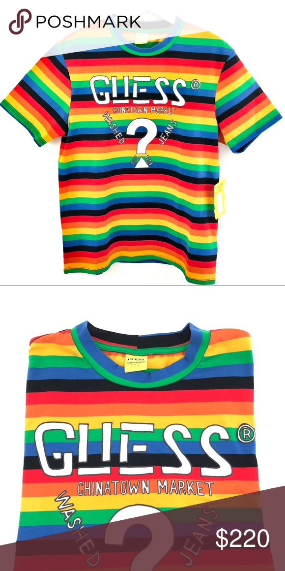 610287361eb9 Guess Jeans x Chinatown Market Rainbow T-shirt Guess Farmers Market x  Chinatown Market X Sean Wotherspoon Rainbow Stripe T shirt Guess Shirts  Tees - Short ...