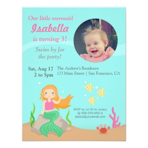 Mermaid Birthday Invitations Under the SeaMermaid Girl Birthday – Toddler Girl Birthday Invitations