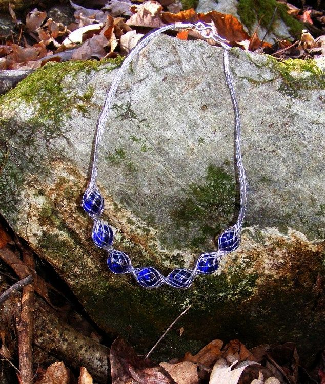 Wire Braid and Glass necklace. $20.00, via Etsy.