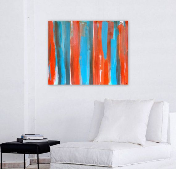 Abstract art original artwork orange blue turquoise painting wall also best decor images on pinterest mixed media rh