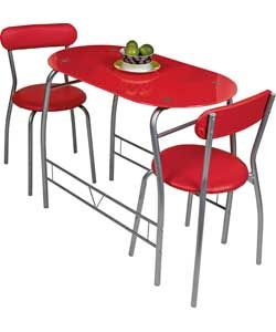 miami red glass dining table and 2 chairs breakfast set decor glass kitchen tables glass. Black Bedroom Furniture Sets. Home Design Ideas