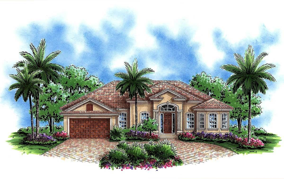 Plan 66280we Impressive Ceilings In 2021 Florida House Plans Mediterranean Style House Plans Mediterranean House Plans