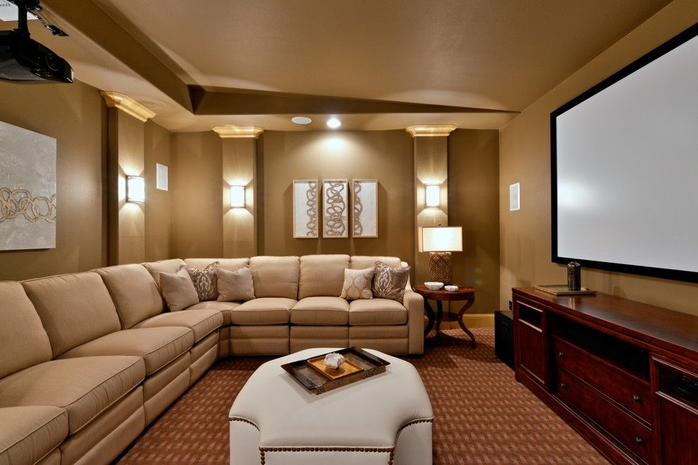 Glamorous media room in dallas tx traditional home theater