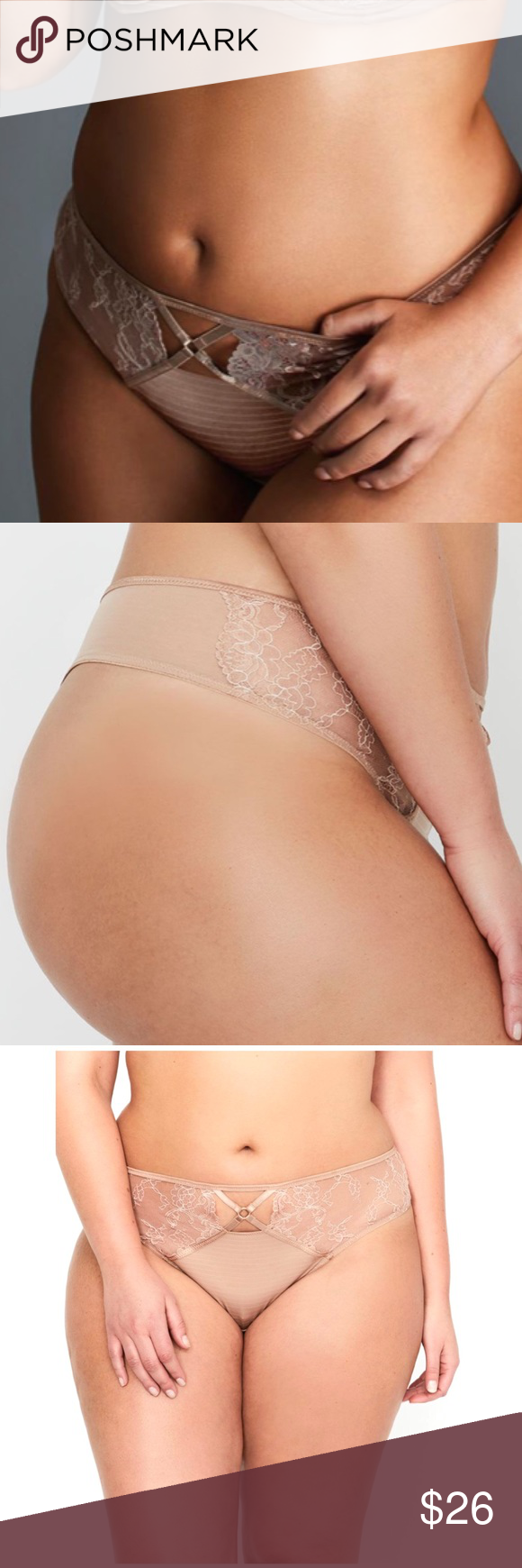 297299f88e3437 Ashley Graham Essentials Lace & Striped Thong This discrete yet seductive  plus size thong from the