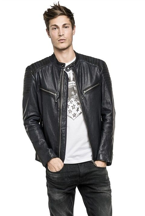241919f16ee0 Men s leather jacket - Replay