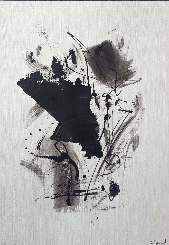 Peinture Moderne Acrylique Noir Encre De Chine Sur Papier Grain