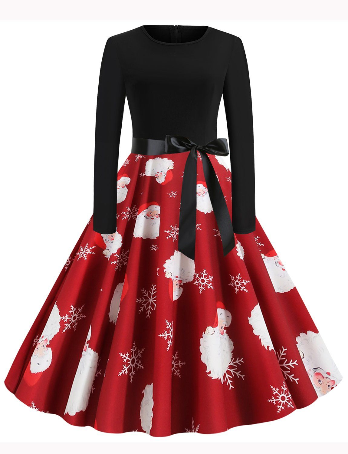 1950s Style Long Sleeve Scoop Father Christmas Swing Dresses Christmas Dress Women Party Dress Long Sleeve Christmas Dress Outfit [ 1500 x 1150 Pixel ]