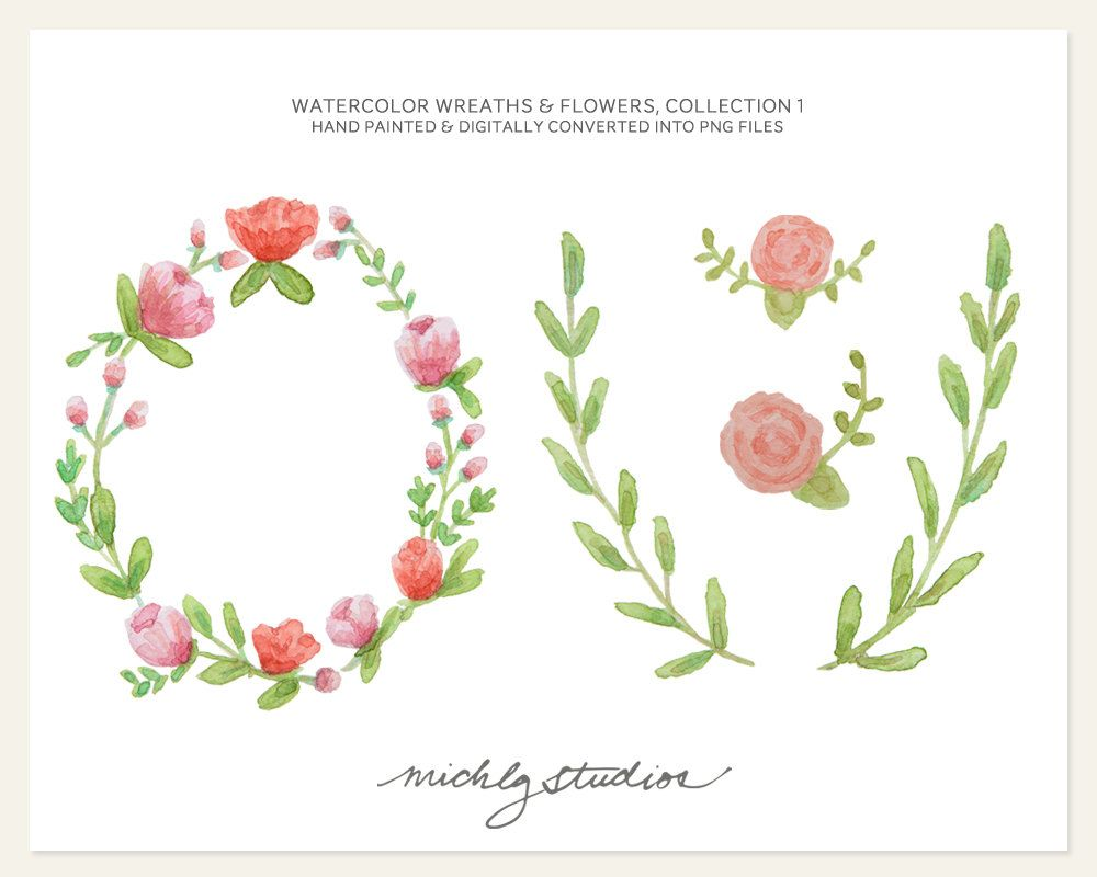 watercolor flowers wreath - Google Search