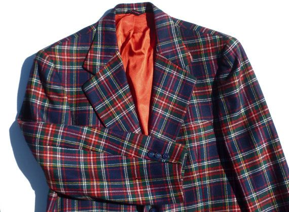 Mens Plaid Blazer Jacket Sport Coat Navy Blue, Red, Green Tartan ...