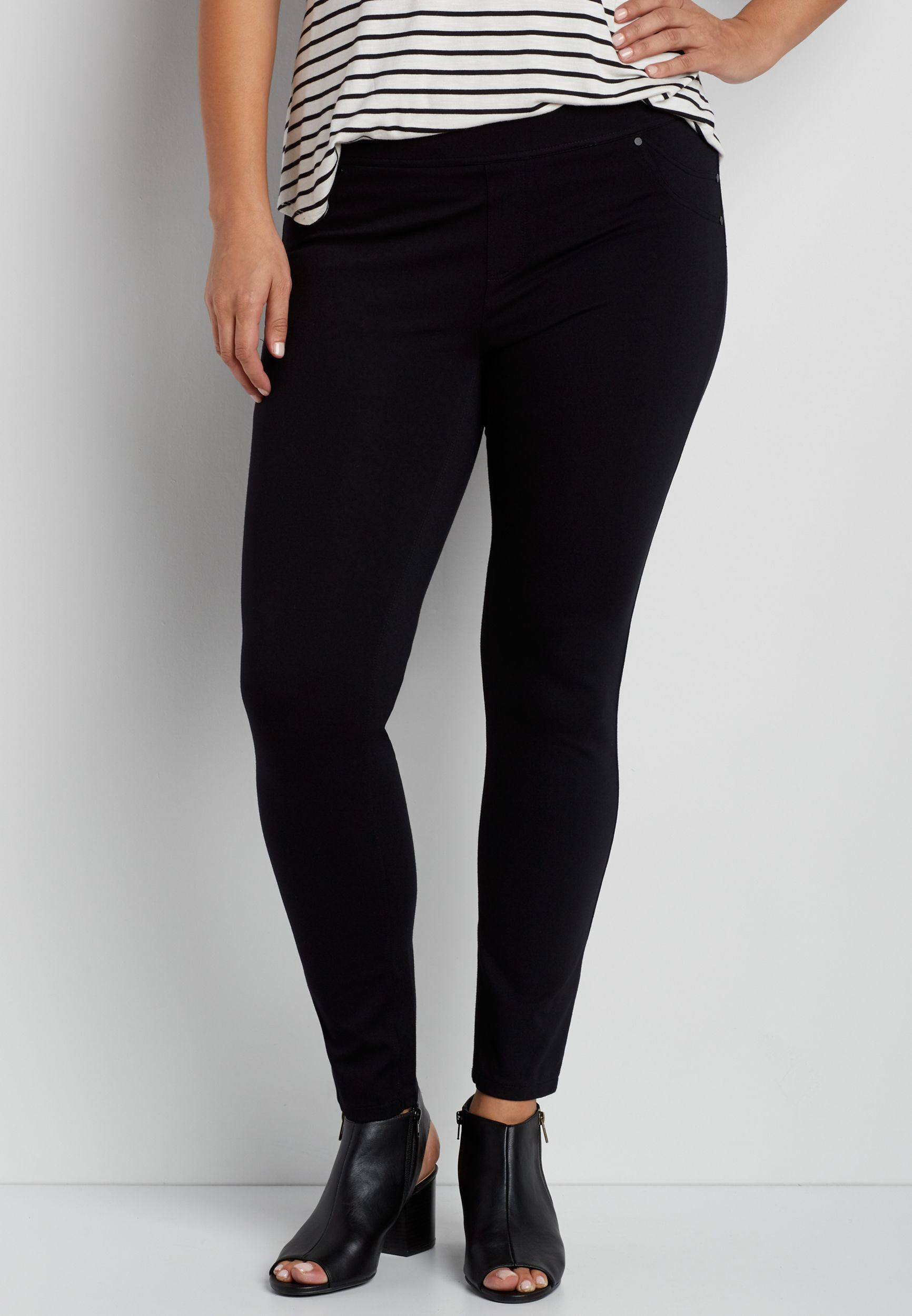 9cbcdff1604 the smart skinny plus size pull on ponte pant in black (original price