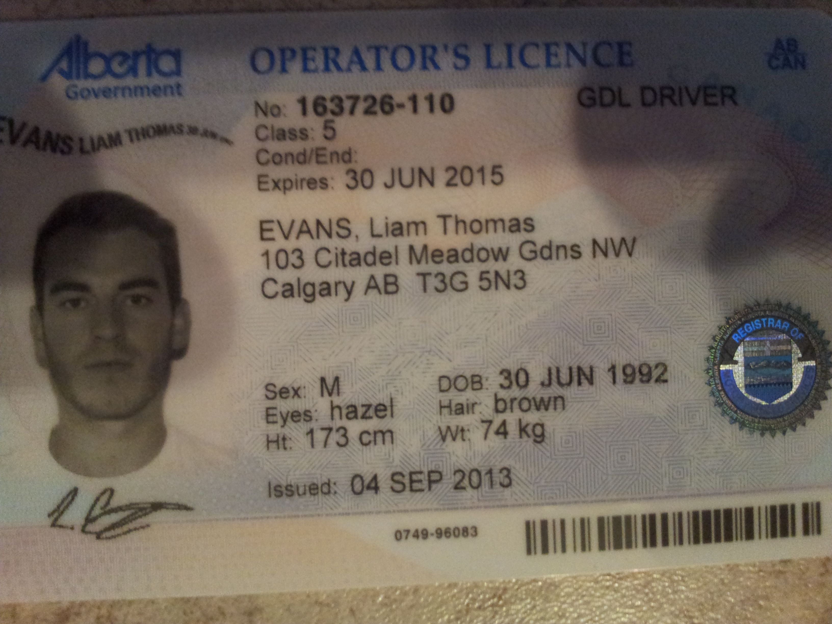 Finally Got A Alberta Driver License They Made Me A Full 3cm Shorter And 2 Kilos Heavier Still The Photo Is Drivers Permit Drivers License Birth Certificate