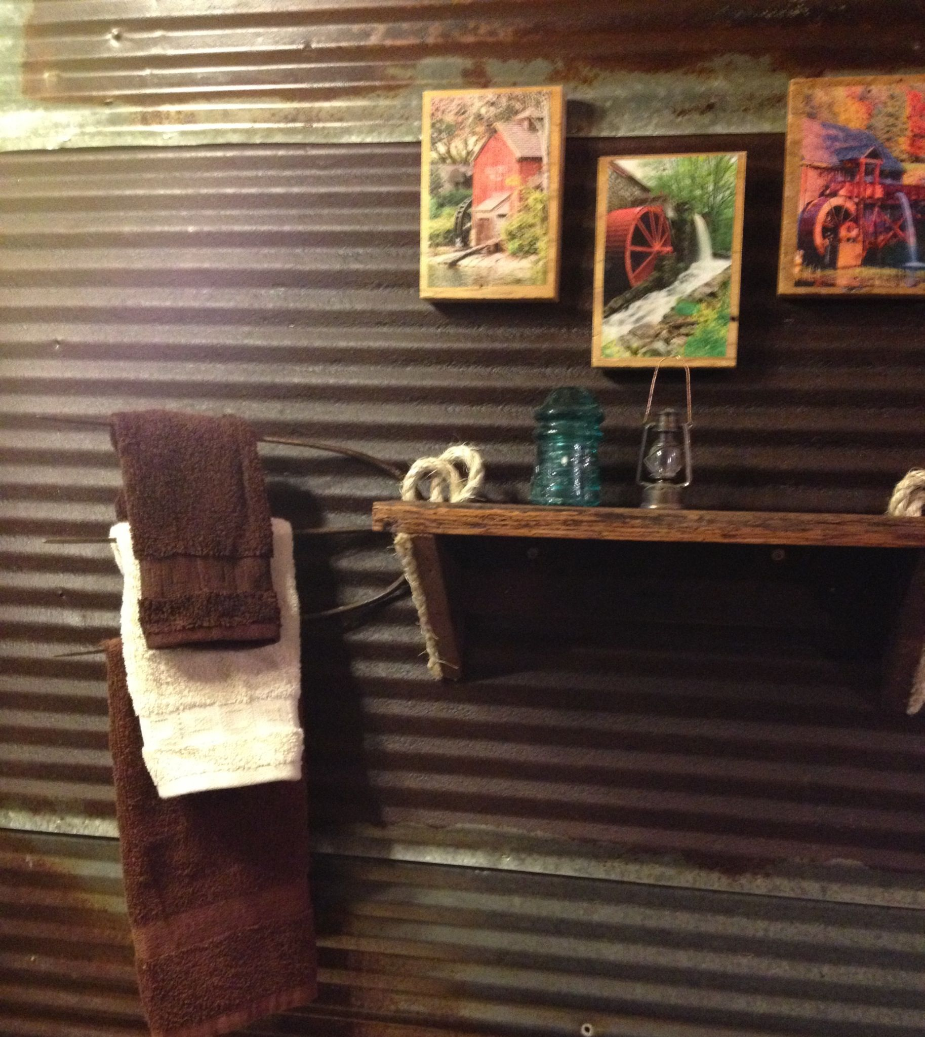 Pitch fork towel rack made into barn wood shelf | Our house being ...