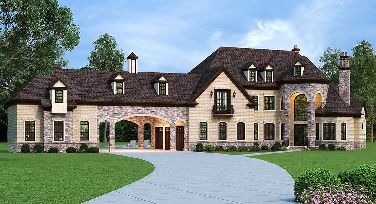 Plan 12307JL European Estate Home with Porte Cochere Stacked