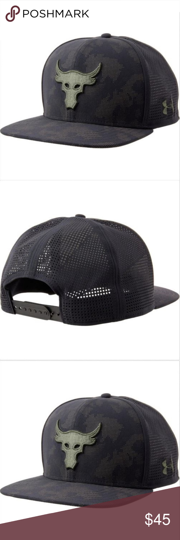 bb5716d3207 UA x Project Rock SuperVent Snapback Cap UA x Project Rock SuperVent  Snapback Cap UA Flat