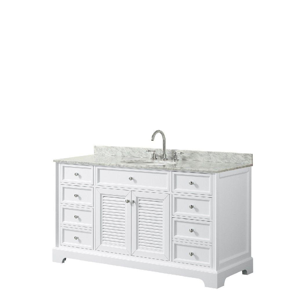 60 Inch Single Bathroom Vanity In White White Carrara Marble Countertop Undermount Oval Sink And No Mirror Single Bathroom Vanity Marble Vanity Tops Vanity