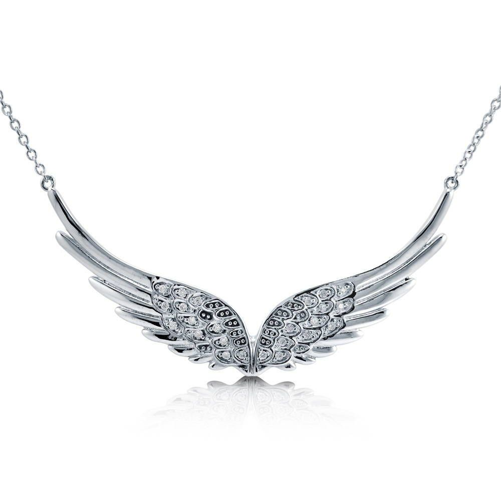 ANGEL WING NECKLACE large sterling silver pendant  EASTER JEWELLERY