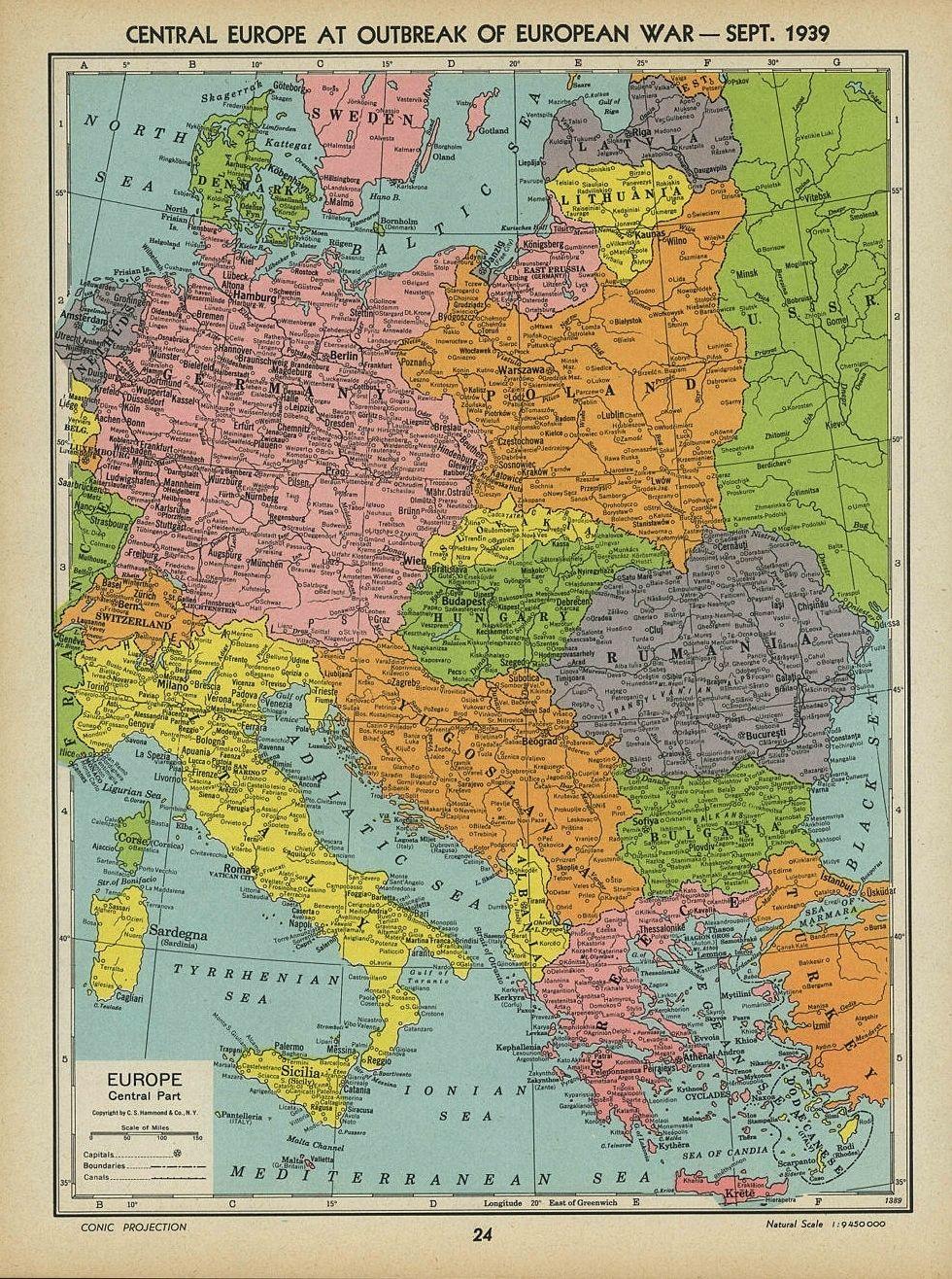 Central Europa War 1939 Terkep Foldrajz Tortenelem