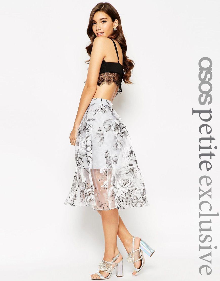 Image 1 of ASOS PETITE Prom Midi Skirt in Floral Organza | Asos ...