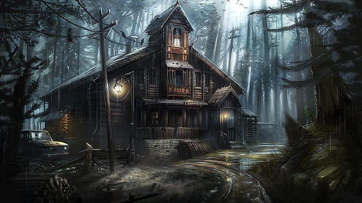 Hd Wallpaper Fantasy Art Haunted House Ghost House Tree Forest Abandoned Wallpaper Flare Temnyj Dom Lesnye Oboi Doma S Privideniyami Na Hellouin