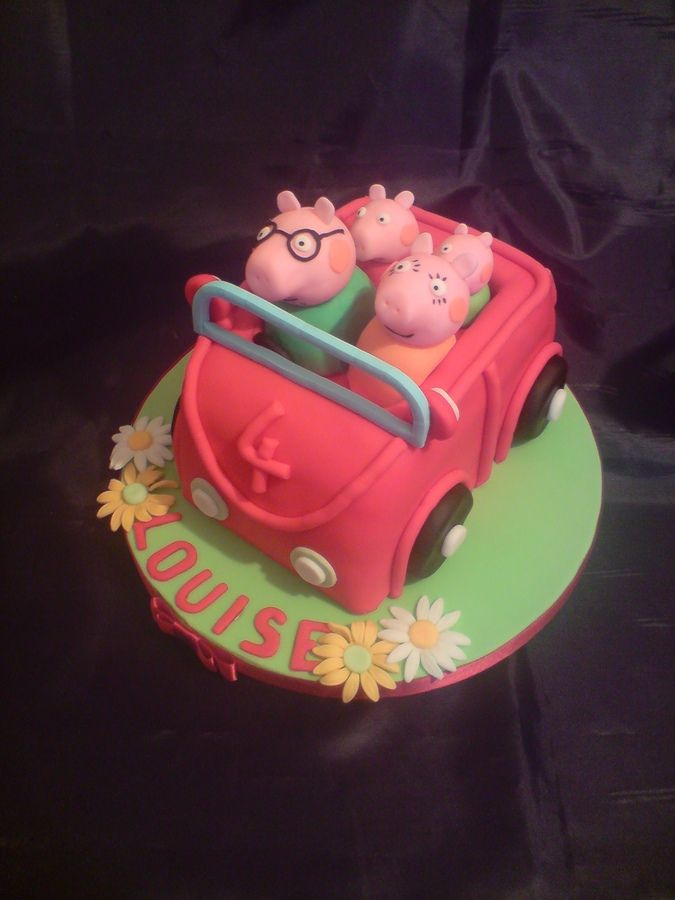 Peppa Pig Car Cake With All The Family Peppa Pig Cakes