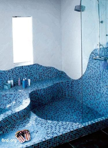 Great Blue Tile Shower Add The Walk Down Into Jacuzzi Tub And I M Happy Camper