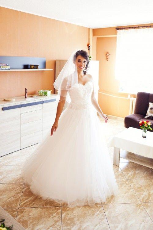 Suknie Suknia ślubna Princesska 36 Dekolt Serce Pióra