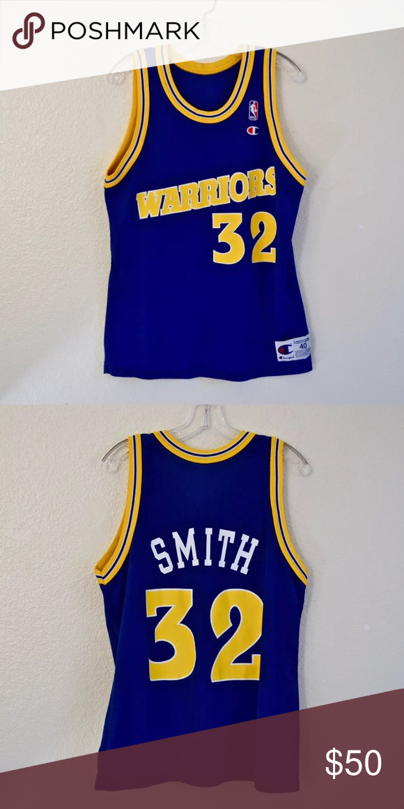 42d5ba0f9 Golden State Warriors Vintage Basketball Jersey Golden State Warriors  Vintage Joe Smith Champion NBA Basketball Jersey size 40 Champion Shirts  Tank Tops