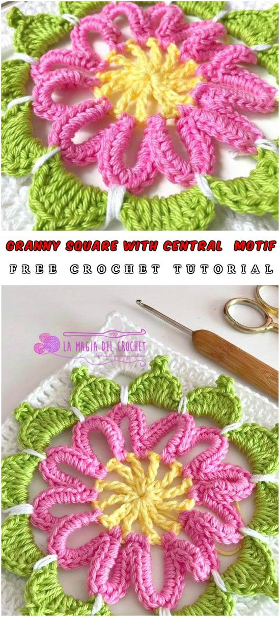 Granny Square with Central Motif Crochet Tutorial Free | Pinterest ...