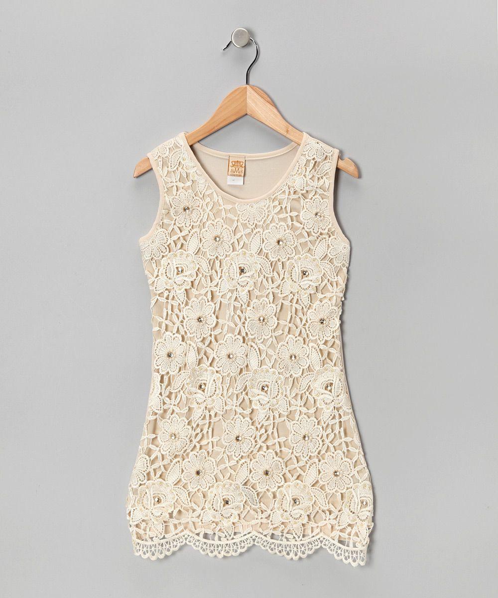 Crème Crochet Lace Dress - Girls